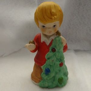 Vintage Little boy and Christmas tree bell